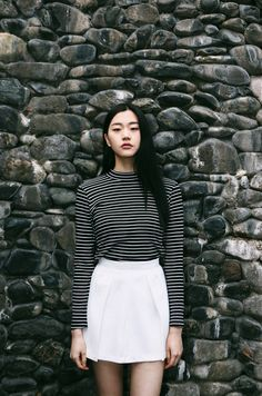 stripes and whit skirt, perfect for school and early autumn!
