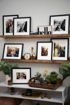 How to Make Your Own PicturePerfect Photo Ledge is part of Picture frame shelves - Don't break the bank with a storebought shelf, DIY a custom photo ledge you'll be proud to display in your space Decoration Bedroom, Diy Wall Decor, Room Decor, Picture Frame Shelves, Photo Ledge Display, Shelves With Pictures, Gallery Wall Shelves, Frame Shelf, Ikea Picture Ledge