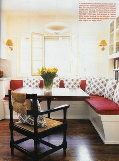 Bench Seating for kitchen. That would be super cool if there is storage in those benches too.
