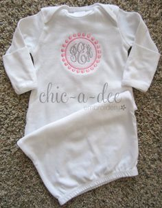 Monogrammed Newborn Layette Gown by ChicADeeEmbroidery on Etsy, baby Newborn baby My Baby Girl, Our Baby, Baby Olivia, Baby Monogram, Baby Gown, Baby Sewing, Baby Gifts, New Baby Products, Girl Outfits