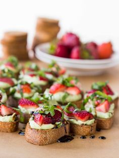 Whipped Basil Ricotta and Strawberry Crostini - A simple, sweet, salty, and juicy summer appetizer!