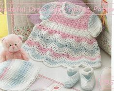 Very cute baby girls short sleeved dress, hat and booties crochet pattern. Pattern instructions for 6 sizes (premature, newborn, Crochet on UK crochet hooks. Very Cute Baby, Pretty Baby, Double Knitting Patterns, Crochet Patterns, Crochet Ideas, Booties Crochet, Baby Cardigan, Vintage Knitting, Baby Patterns