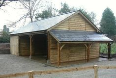 Classic carport & garage with 'Lean-To' log store. Fibre cement slate roof