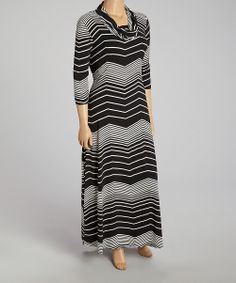 Black & White Zigzag Cowl Neck Maxi Dress