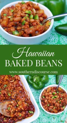 A Little Sweet, A Little Spicy This Homemade Baked Beans Recipe Is Loaded With Pineapple, Green Peppers, Bacon And Sweet Onion In A Sauce A Brown Sugar And Molasses Sauce. This Side Dish Is Perfect For All Of Your Cookouts And Potlucks Homemade Baked Beans, Baked Bean Recipes, Recipes Using Baked Beans, Easy Baked Beans, Hawaiian Side Dishes, Hawaiian Food Recipes, Hawaiian Luau Food, Hawiian Food, Hawaiian Birthday