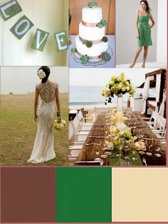 Brown, Green, and Ivory Wedding Palette  -- Pinned by http://www.cakestandlady.com