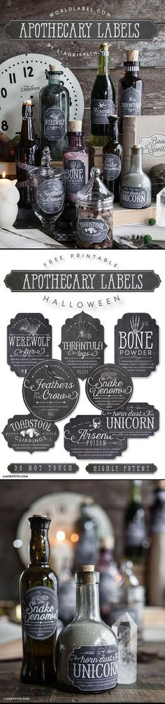 Window Decorations : FREE PRINTABLE Apothecary Labels. The Sanderson Sisters have a cupboard full of potions. Potion bottles are fairly easy to make and can be an inexpensive way to decorate. Hocus Pocus Halloween Party Decorations & Ideas