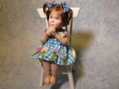 OOAK Dollhouse Miniature Girl Doll 1:12 Scale by Carol McBride
