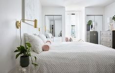 Sunday Forever Founder Ashli Stockton's Bedroom Editorial for Clare paint Best White Paint, White Paint Colors, Wall Paint Colors, Bedroom Paint Colors, White Paints, Bedroom Retreat, Bedroom Decor, All White Bedroom, Large Beds