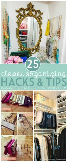 Closet Organizing Hacks and Tips. Are you looking to re-vamp your entire closet or just need some minor organizational help? We think you'll love these ideas for either! You won't believe all of these clever re-purposing tricks and tips that you can use to make your closet function better! Check out how 'S' hooks can be such a helpful tool in hanging things as well as soda tabs! Enjoy making your closet your new happy place with all of these ideas on Frugal Coupon Living.