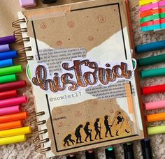 Historia Journal Fonts, Bullet Journal School, Bullet Journal Notebook, Bullet Journal Ideas Pages, Bullet Journal Inspiration, Notebook Art, Hand Lettering Alphabet, School Notebooks, Pretty Notes