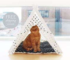 Cat teepees are meant to make cats feel secure and comfortable.  Cats like the places where they can feel themselves comfortable, calm and cozy and we are glad to offer you teepee-home for your pet that doesnt take too much space and can be easily moved from one room to another.  Made of high quality heavy weight fabric and painted wood - teepee can be placed outside and will protect your pet from the sun and heat. You can also use the inner padding as a travel mat.  • Ready to assemble in…