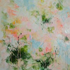 40x40 large abstract painting pink white contemporary floral art by Elena Petrova