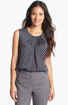 Jones New York 'Abby' Dotted Pleat Neck Blouse (Regular & Petite) | Nordstrom