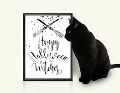 Happy Halloween witches print Halloween printable sign Witch Broom Black Funny quote Feminine Women Fall decor Wall art Autumn decoration by TheBlackCatPrints on Etsy #Halloween #autumn #fall #pumpkin #bat #broom #broomstick #printables #prints #designs #quotes #sayings #scary #spooky #dark #night #witch #tombstone #decor #signs #design #etsy #seller #shop #owner #artist #artwork #instant #download #beautiful #designs #digital #pictures #images #gifts #usa #seller