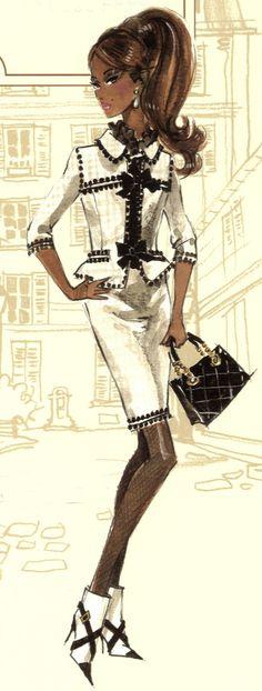 """Toujours"" Barbie design sketch by Robert Best"