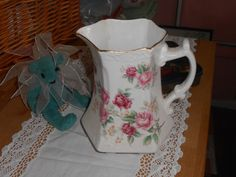 shabby chic decorative china jug pitcher vase french decor style with pastel pink transfer print flowers by LilyMaud on Etsy https://www.etsy.com/listing/163559715/shabby-chic-decorative-china-jug-pitcher