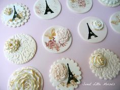 1 Dozen (12) Vintage Paris Themed Cupcake Toppers (Edible)