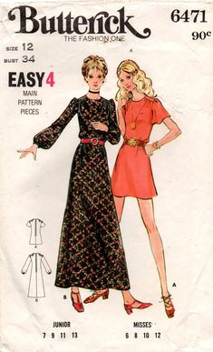 Butterick 6471 Womens Mini or Maxi Dress Full or Flutter Sleeves 70s Vintage Sewing Pattern Size 12 Bust 34 inches
