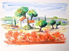 Aquarelle Originale Dam Domido Provence champs de coquelicots...Akoun watercolor