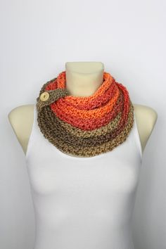 Knit Scarf Necklace - Knit Chain Scarf - Finger Knit Scarf - Womens Knit Infinity - Knit Cowl Scarf - Knit Loop Scarf - Knit Rope Scarf