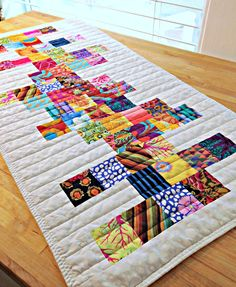 Quilted Table Runner, Modern Table Runner, Rainbow Table Runner, Patchwork Table Runner, Kaffe Fassett fabric, White Table Runner by TheQuiltingViolinist on Etsy