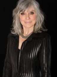 Image result for long gray hair with bangs