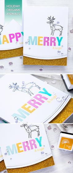 Merry & Bright! Create colorful Holiday cards featuring fun origami animals from Hero Arts! For details, visit http://www.yanasmakula.com/?p=55462