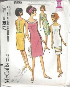MOMSPatterns Vintage Sewing Patterns - McCall's 7780 Vintage 60's Sewing Pattern SO PRETTY Quickie Easy Mod Fitted Scoop Neck Summer Sheath Dress Set, Trims Galore! Size S