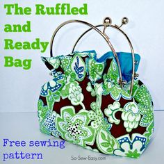 Deby from So Sew Easy shares a free pattern for making her Ruffled and Ready Bag. If the frame looks familiar, that's because it's the same one she used to make her Made in a Snap Bag. Sewing Patterns Free, Free Sewing, Free Pattern, Sewing Men, Apron Patterns, Skirt Patterns, Sewing Clothes, Crochet Pattern, Sewing Crafts