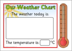 A printable daily weather chart for displaying in the classroom. Laminate the different elements and each day you can affix the appropriate weather symbol and mark the temperature on the thermometer. Daily Weather, Weather Unit, Weather Change, Weather Seasons, Free Teaching Resources, Teacher Resources, Teaching Ideas, Schedule Calendar, School Study Tips