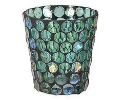 Windlicht Mosaic, turquoise/zwart, Ø 8 cm