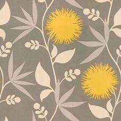 Thomas Paul Duralee Dahlia Dove Gray Yellow Modern Floral Fabric, .85 yd. $14.00, via Etsy.