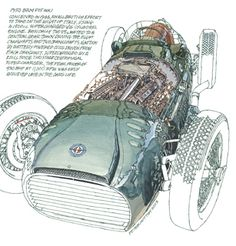 1950 BRM P15 Mk1- Freehand Drawing by Peter Hutton :: Illustrator