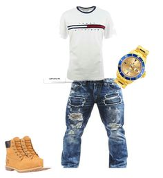 """""""tommy"""" by sosababy1201 ❤ liked on Polyvore featuring Timberland, Rolex, men's fashion and menswear"""