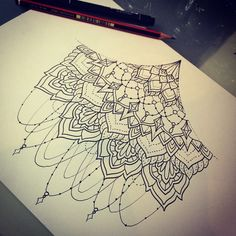 Sternum underboob tattoo design by Timothy Von Senden. Like henna or mehndi, pretty & girly