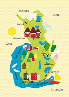 Finland Map Illustration by petra Panfilova: Travel Maps, Travel Posters, Helsinki, Map Pictures, Thinking Day, Design Thinking, Travel Illustration, Map Design, City Maps