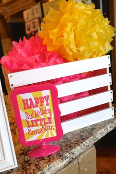 You are my sunshine birthday party decorations!  See more party planning ideas at CatchMyParty.com!