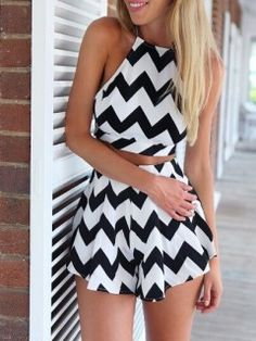 ba5d17bb60c Monochrome Chevron Print Crop Top And High Waist Shorts - Choies.com. Looks Jumpsuits And RompersTwo Piece Short SetSolid BlackBlack WhiteWhite ...
