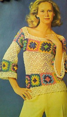 Looking for your next project? You're going to love Crochet Pattern, Crochet Sweater Pattern by designer - via Crochet Bolero, Crochet Wool, Crochet Blouse, Crochet Motif, Crochet Patterns, Crochet Squares, Vintage Crochet, Top Pattern, Crochet Clothes