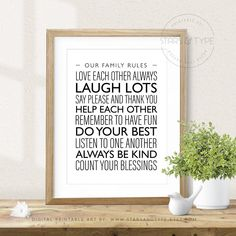 House Home Family Rules, PRINTABLE Wall Art, Count Your Blessings, Modern Typography Decor, Monochrome Black and White, Digital Print Jpeg by StarsAndType on Etsy