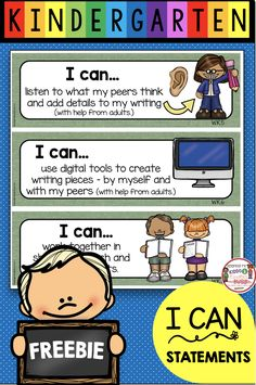 Kindergarten Objectives - I Can Statements - Standards Posters - Math and Reading - Writing - Science and Social Studies - Common Core aligned printable free anchor charts in kid friendly definitions Kindergarten First Week, Kindergarten Freebies, Kindergarten Language Arts, Kindergarten Readiness, Kindergarten Writing, Kindergarten Classroom, Classroom Charts, Classroom Images, Classroom Layout
