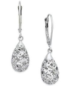 Cut-Out Filigree Dangle Earrings in 10k White Gold
