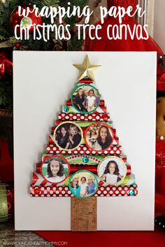 Wrapping Paper Christmas Tree Canvas With Photo Ornaments #SaveYourMemories #ad