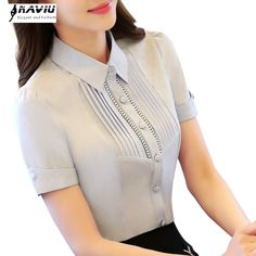 2016 female summer professional Hollow Out short-sleeve chiffon shirt OL fashion work wear slim blouse top plus size S to Ol Fashion, Fashion Outfits, Blouse Styles, Blouse Designs, Summer Professional, Modele Hijab, Moda Casual, Korean Fashion Trends, Chiffon Shirt