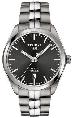 Tissot Women's Swiss T-Classic Pr 100 Gray Titanium Bracelet Watch Le Locle, Hand Watch, Mens Gift Sets, Stainless Steel Bracelet, Quartz Watch, Watches For Men, Men's Watches, Silver Watches, Wrist Watches