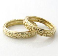 Art Deco Wedding Band , Gold Wedding Ring  ,  Harts and Leaves Ring , Thin Gold Wedding Band