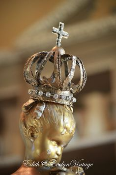 French Style Tin Crown with Rhinestones Cross by edithandevelyn on Etsy