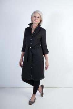 Italian Linen Shirtdress (above knee)- Black