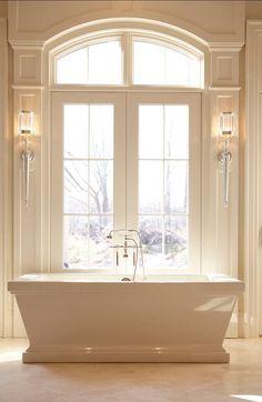 Bathroom Spa, Bathroom Trends, Modern Bathroom, Master Bathroom, Bathroom Ideas, Master Tub, Bathroom Storage, Bathroom Moulding, Cream Bathroom